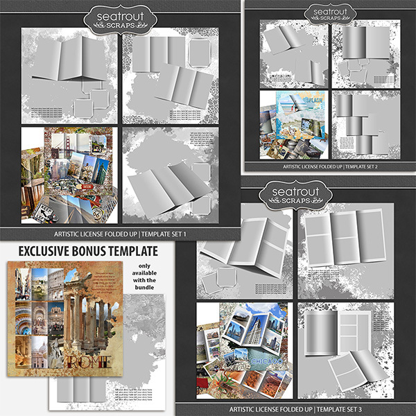 Artistic License Folded Up Bonus Bundle 12x12 Digital Art - Digital Scrapbooking Kits