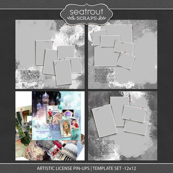 Artistic License Pin-ups Template Set 12x12 Digital Art - Digital Scrapbooking Kits