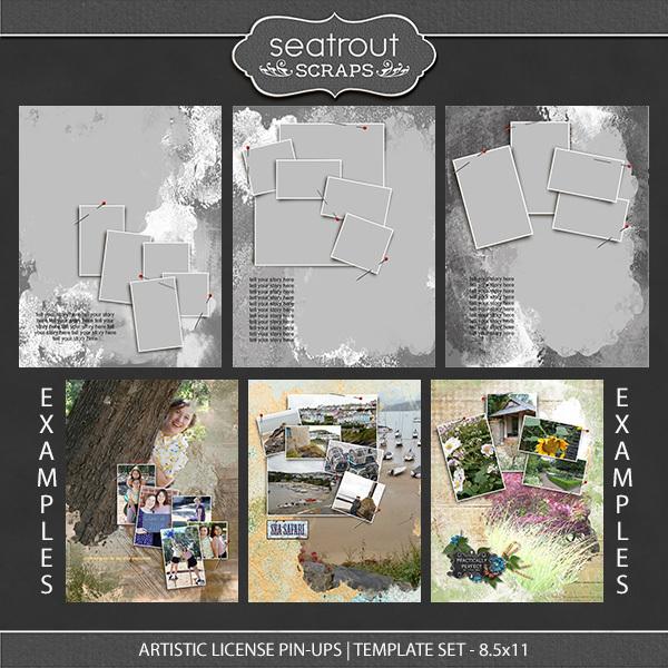 Artistic License Pin-ups Template Set 8.5x11 Digital Art - Digital Scrapbooking Kits