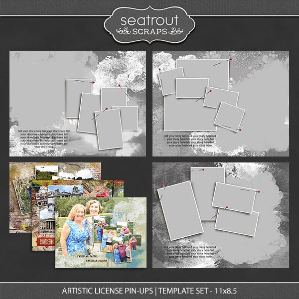 Artistic License Pin-ups Template Set 11x8.5 Digital Art - Digital Scrapbooking Kits