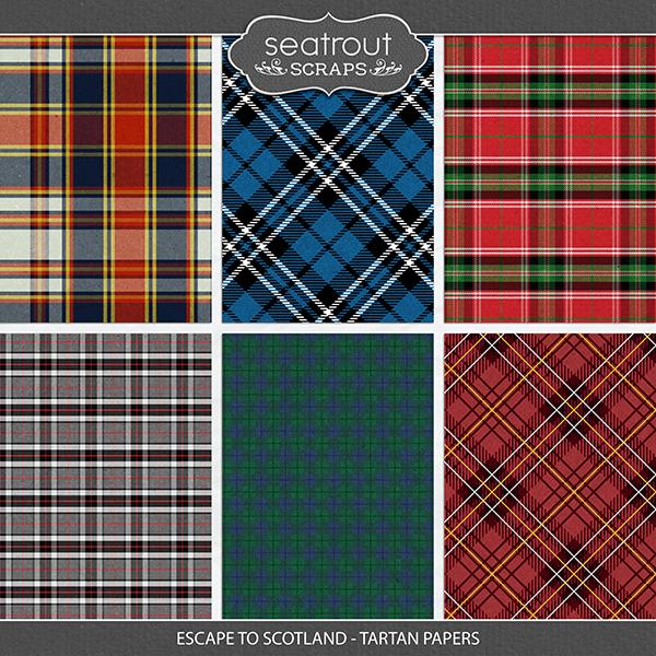 Escape to Scotland - Tartan Papers Digital Art - Digital Scrapbooking Kits