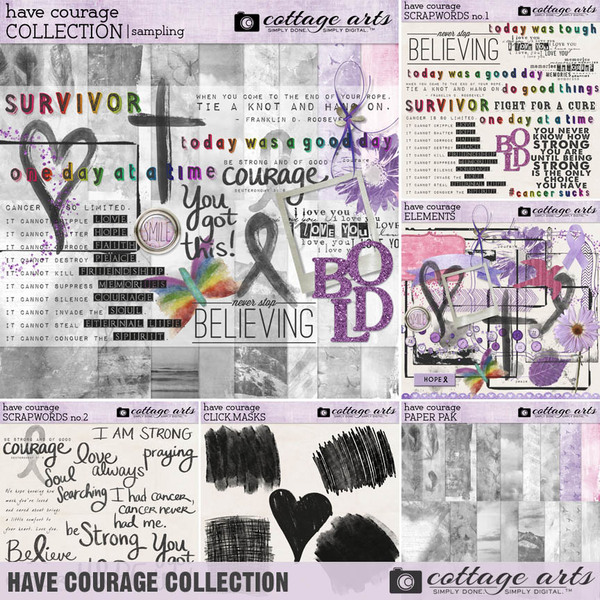 Have Courage Collection Digital Art - Digital Scrapbooking Kits