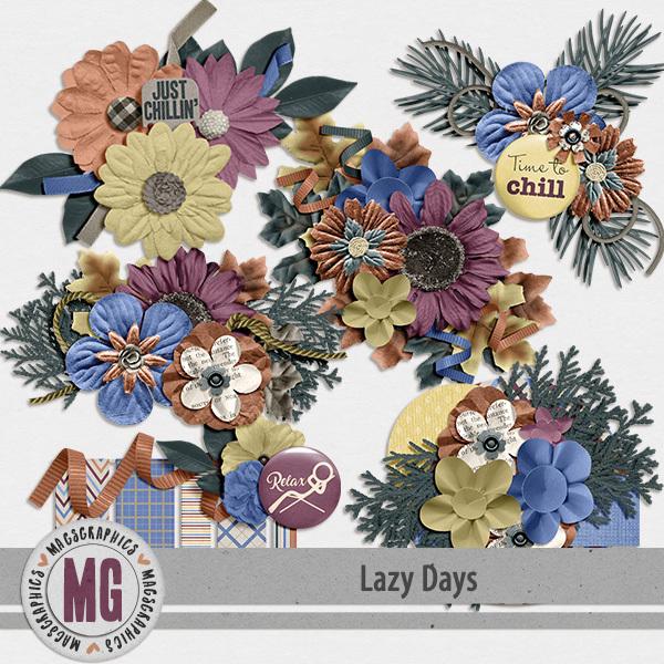 Lazy Days Clusters Digital Art - Digital Scrapbooking Kits