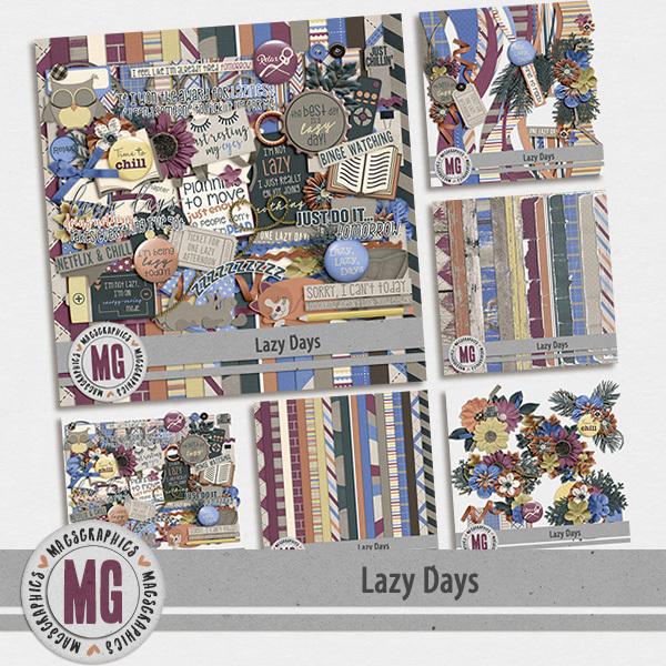 Lazy Days Bundle Digital Art - Digital Scrapbooking Kits