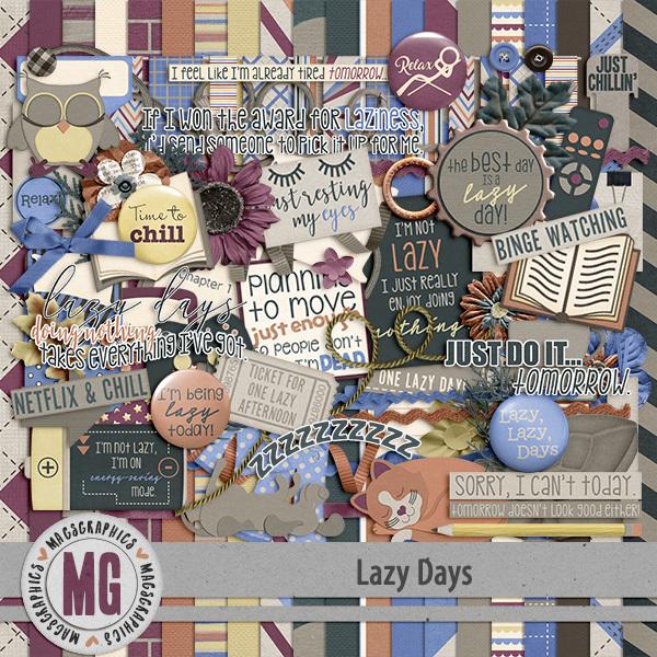 Lazy Days Kit Digital Art - Digital Scrapbooking Kits