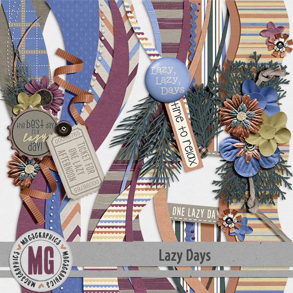 Lazy Days Borders Digital Art - Digital Scrapbooking Kits