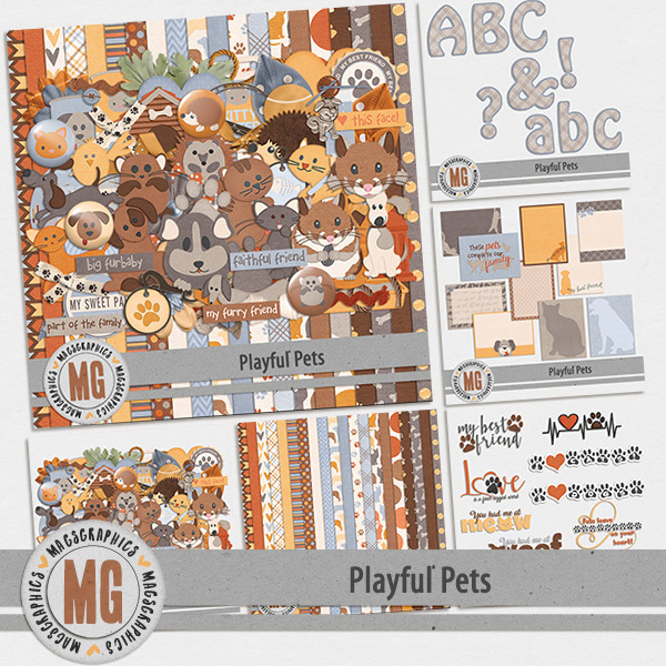 Playful Pets Bundle Digital Art - Digital Scrapbooking Kits