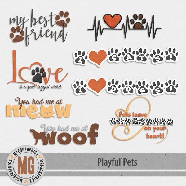 Playful Pets Word Art Digital Art - Digital Scrapbooking Kits