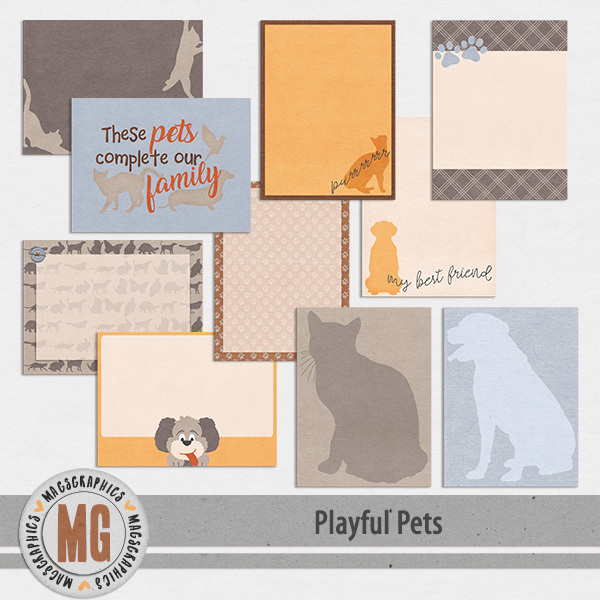 Playful Pets Journal Cards Digital Art - Digital Scrapbooking Kits