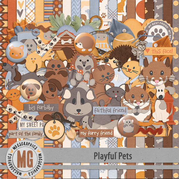 Playful Pets Kit Digital Art - Digital Scrapbooking Kits