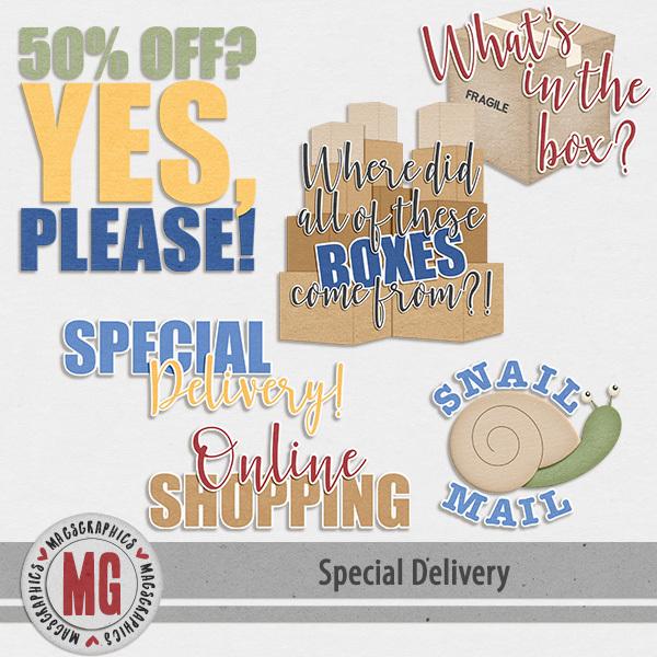 Special Delivery Word Art Digital Art - Digital Scrapbooking Kits