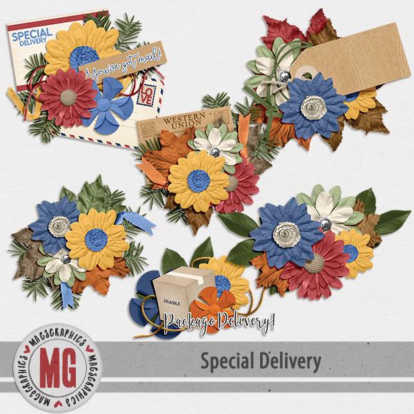 Special Delivery Clusters Digital Art - Digital Scrapbooking Kits