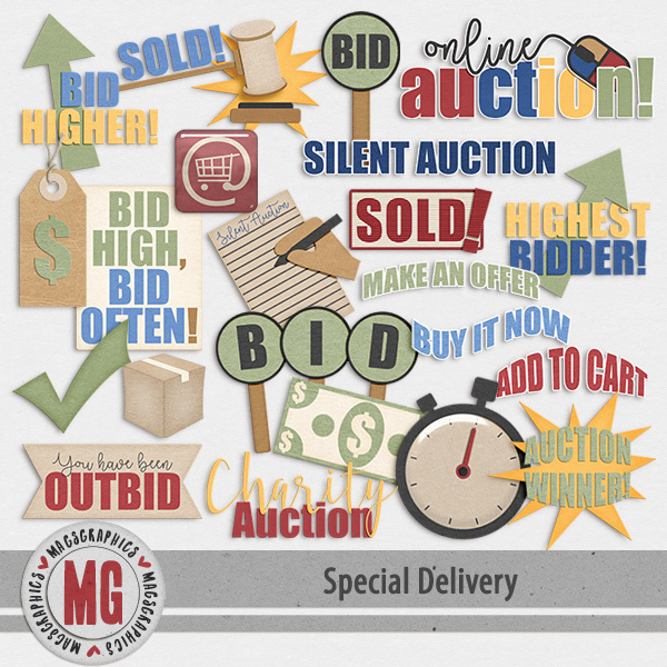 Special Delivery Auction Pack Digital Art - Digital Scrapbooking Kits