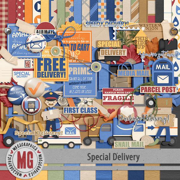 Special Delivery Kit Digital Art - Digital Scrapbooking Kits