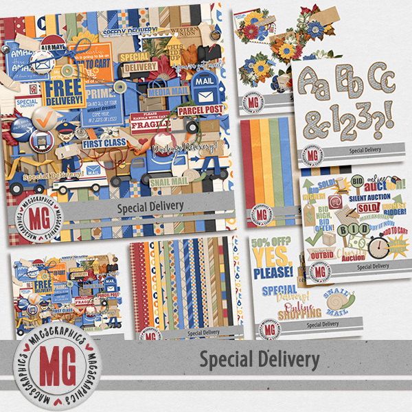 Special Delivery Bundle Digital Art - Digital Scrapbooking Kits