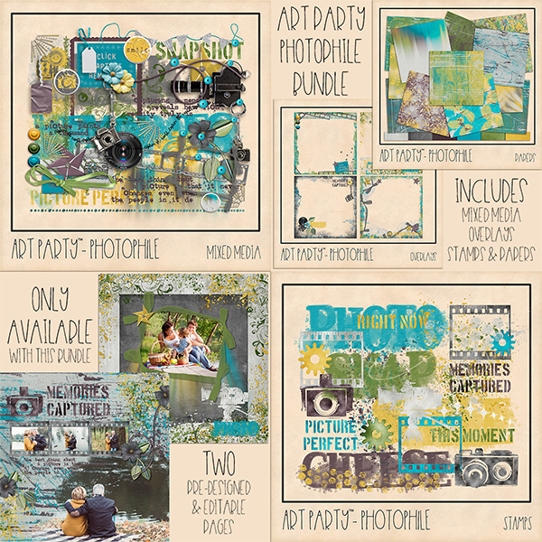 Photophile Bundle Digital Art - Digital Scrapbooking Kits