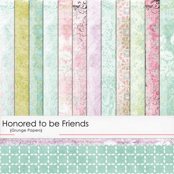 Honored to Be Friends Grunge Papers Digital Art - Digital Scrapbooking Kits