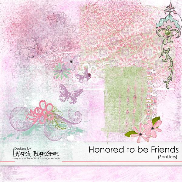 Honored to be Friends Scatters Digital Art - Digital Scrapbooking Kits