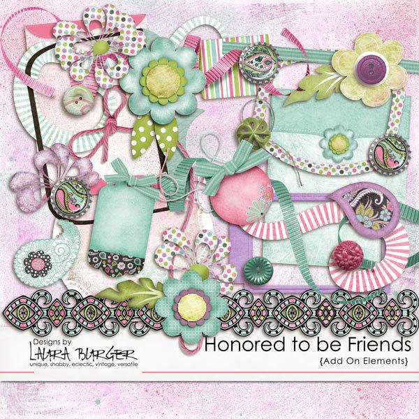 Honored to Be Friends Add On Elements Digital Art - Digital Scrapbooking Kits