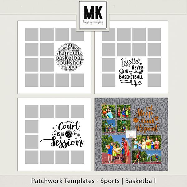 Patchwork Templates - Sports - Basketball Digital Art - Digital Scrapbooking Kits