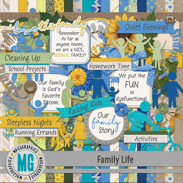 Family Life Kit Digital Art - Digital Scrapbooking Kits