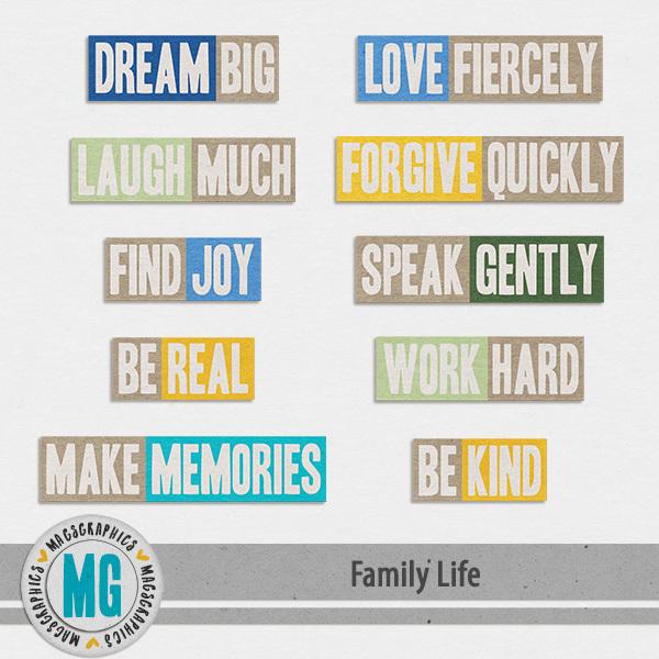 Family Life Titles Digital Art - Digital Scrapbooking Kits