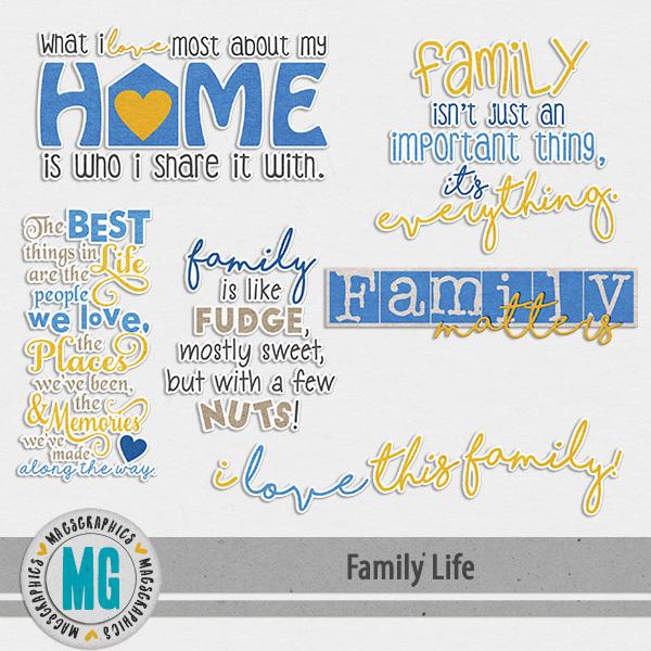 Family Life Word Art Digital Art - Digital Scrapbooking Kits