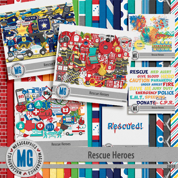 Rescue Heroes Bundle Digital Art - Digital Scrapbooking Kits
