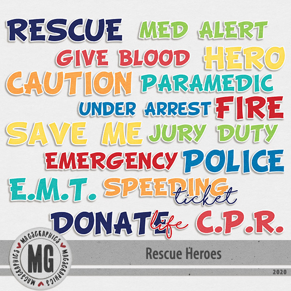 Rescue Heroes Title Pack Digital Art - Digital Scrapbooking Kits