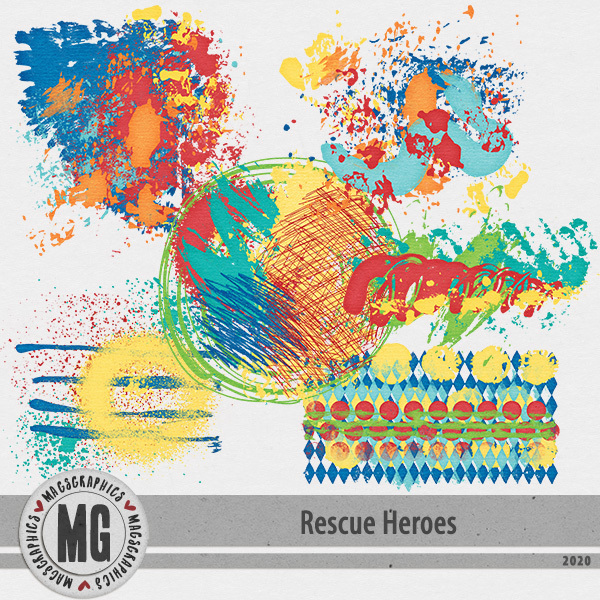 Rescue Heroes Hodge Podge Digital Art - Digital Scrapbooking Kits