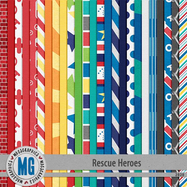 Rescue Heroes Paper Pack Digital Art - Digital Scrapbooking Kits