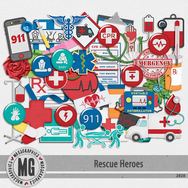 Rescue Heroes EMT Pack Digital Art - Digital Scrapbooking Kits