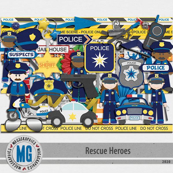 Rescue Heroes Police Pack Digital Art - Digital Scrapbooking Kits