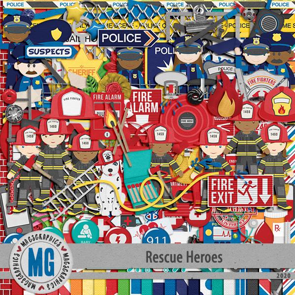 Rescue Heroes Kit Digital Art - Digital Scrapbooking Kits