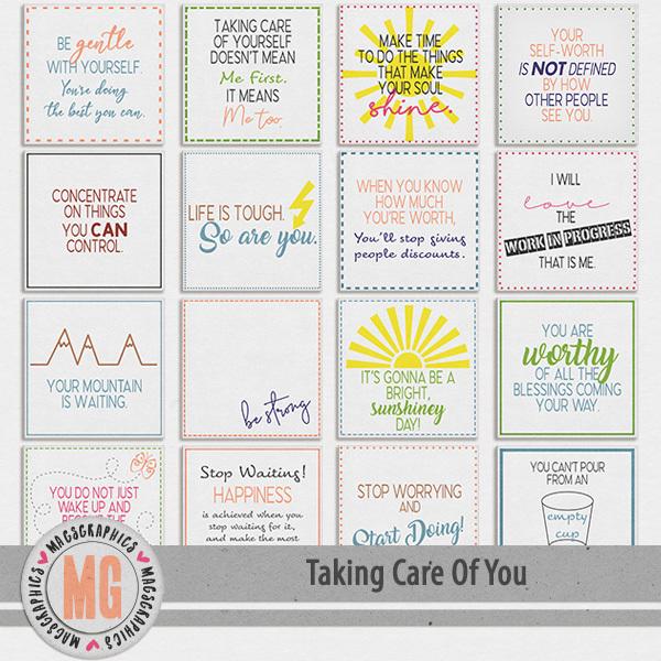 Taking Care of You Journal Cards Digital Art - Digital Scrapbooking Kits