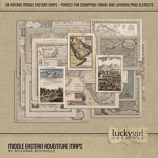 Middle Eastern Adventure Maps Digital Art - Digital Scrapbooking Kits