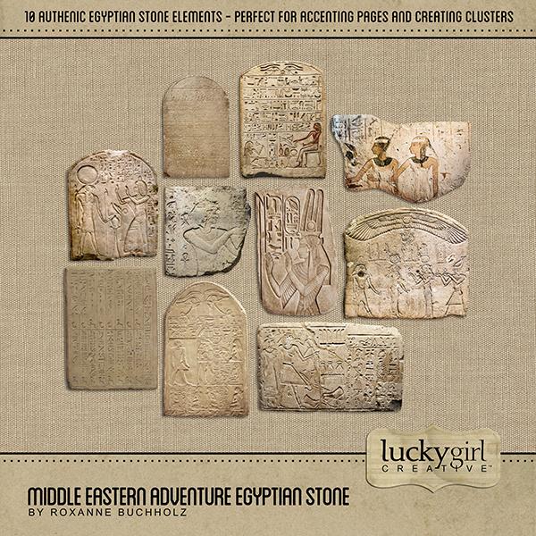 Middle Eastern Adventure Egyptian Stone Digital Art - Digital Scrapbooking Kits