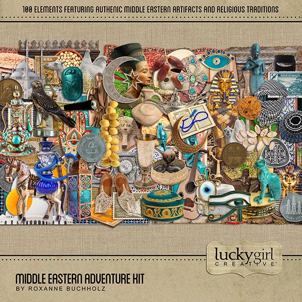 Middle Eastern Adventure Elements Digital Art - Digital Scrapbooking Kits