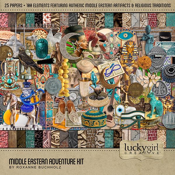 Middle Eastern Adventure Kit Digital Art - Digital Scrapbooking Kits