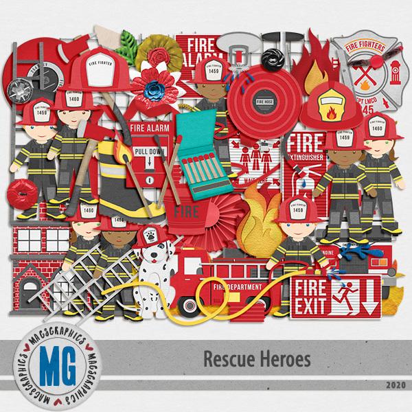 Rescue Heroes Firefighter Pack Digital Art - Digital Scrapbooking Kits