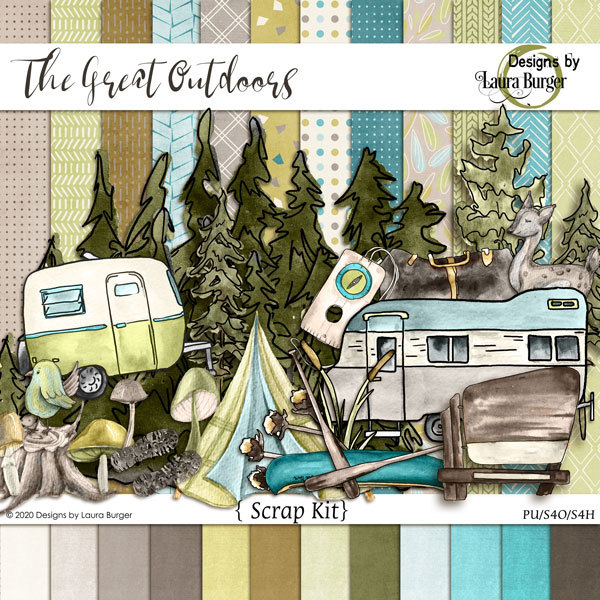 The Great Outdoors Scrap Kit Digital Art - Digital Scrapbooking Kits