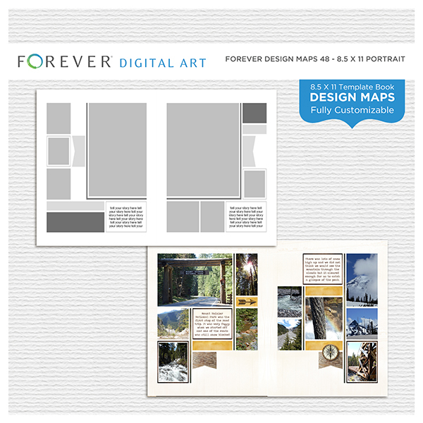 Forever Design Maps 48 - 8.5x11 Digital Art - Digital Scrapbooking Kits