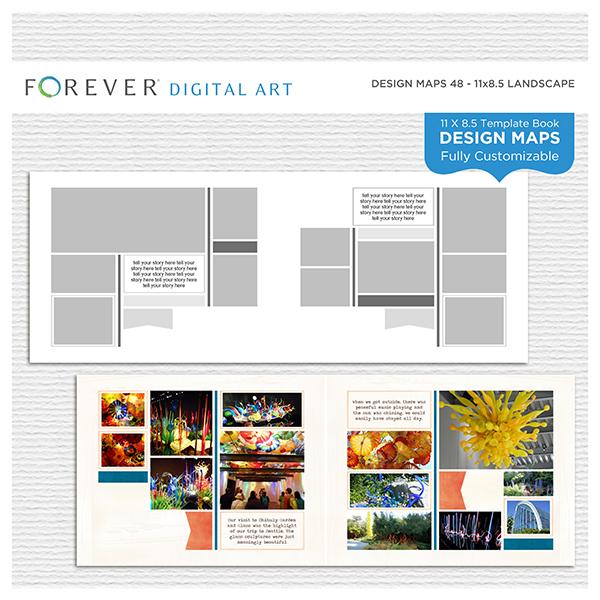 Forever Design Maps 48 - 11x8.5 Digital Art - Digital Scrapbooking Kits