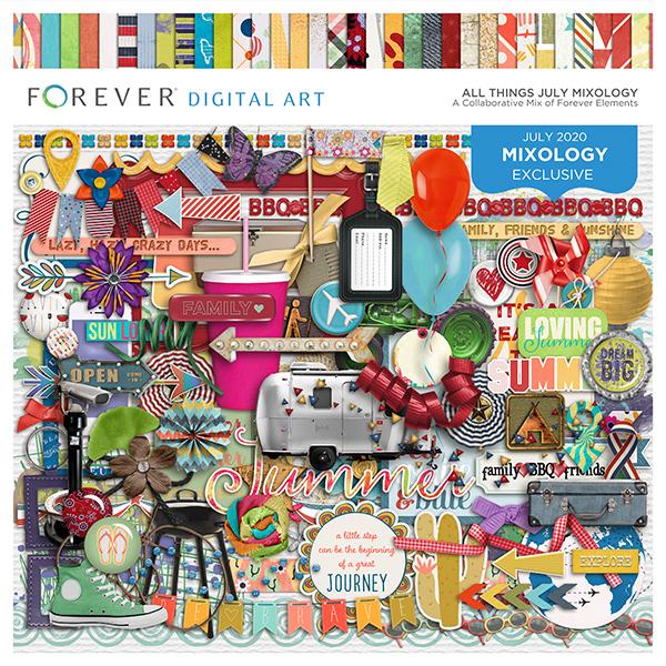 All Things July Mixology Digital Art - Digital Scrapbooking Kits