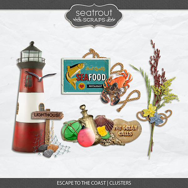Escape to the Coast Clusters Digital Art - Digital Scrapbooking Kits