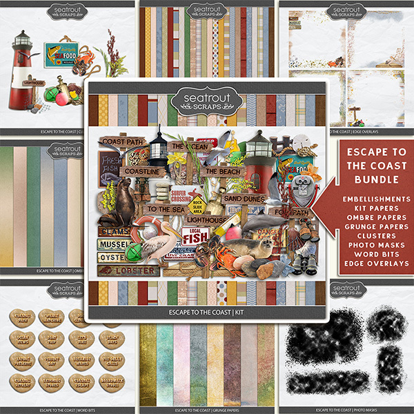 Escape to the Coast Bundle Digital Art - Digital Scrapbooking Kits