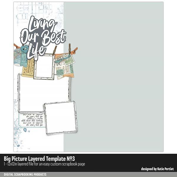 Big Picture Layered Templates No. 03 Digital Art - Digital Scrapbooking Kits