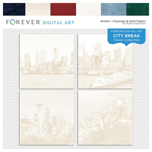 City Break - Seattle -  Cityscape & Solid Papers Digital Art - Digital Scrapbooking Kits