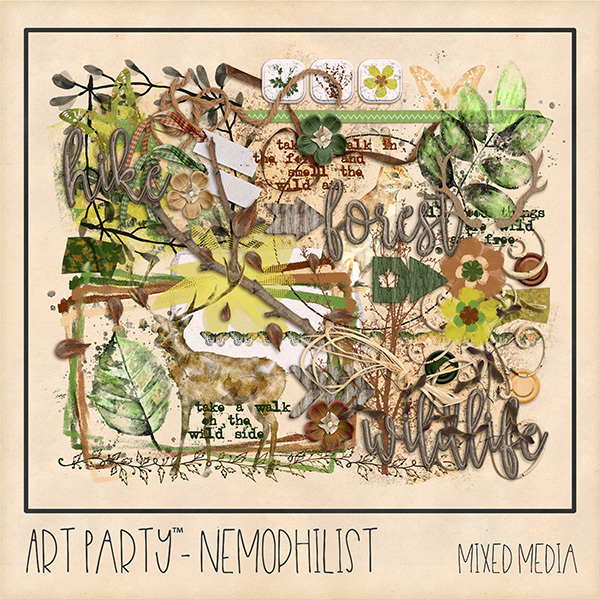 Nemophilist Mixed Media Embellishments Digital Art - Digital Scrapbooking Kits