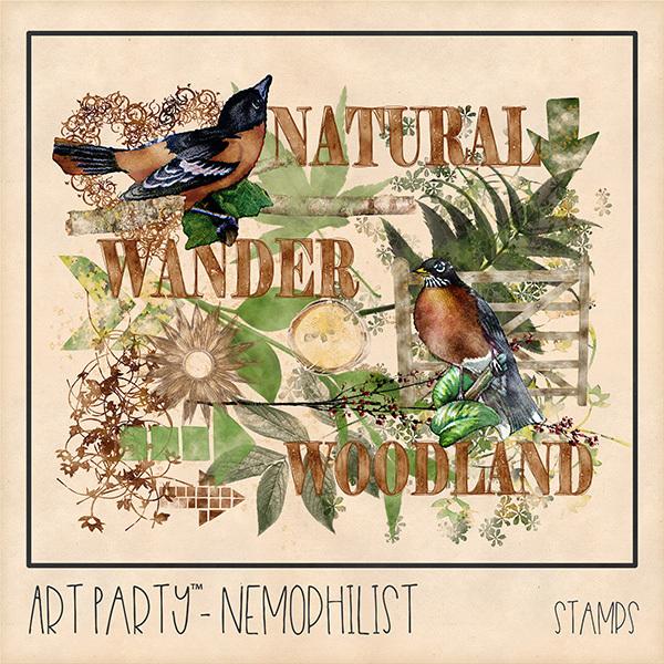 Nemophilist Stamped Pieces Digital Art - Digital Scrapbooking Kits